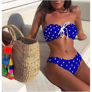 Open image in slideshow, [leggycozy] Dot & Lace Bandeau Bikini Set