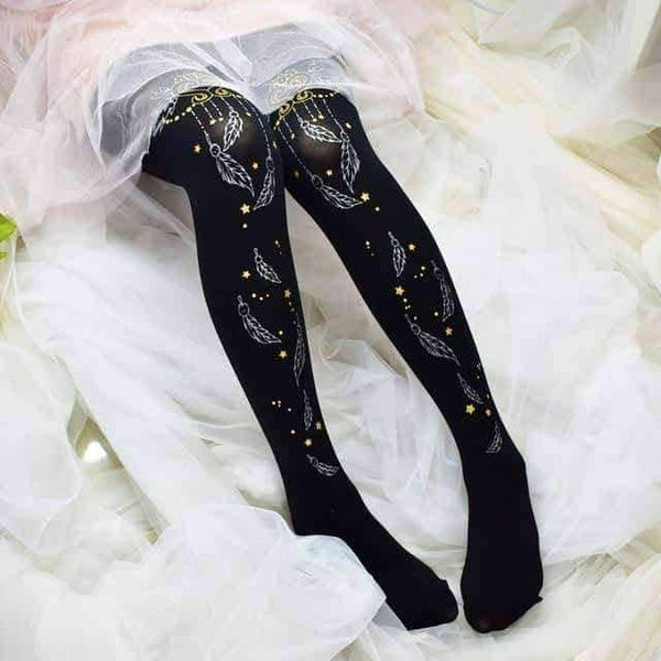 leggycozy [leggycozy] Double-Sided Stamping Silver Feather Flower Pantyhose Stockings