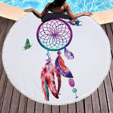[leggycozy] Dream Catcher Printed Microfiber Round Beach Towel With Tassel