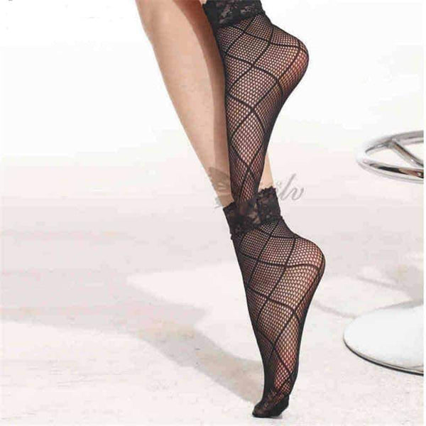 leggycozy [leggycozy] Elegant Ultra-Thin Nylon Short Fishnet Socks