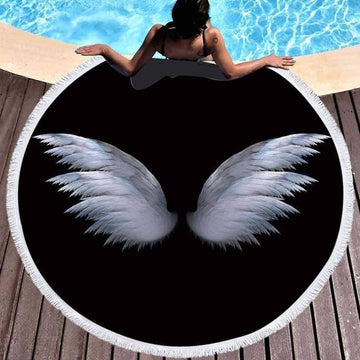 [leggycozy] Fairy Cupid Wings Print Round Beach Towel