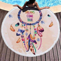 leggycozy [leggycozy] Fashion Beach Round Bath Towel With Tassels 150cm