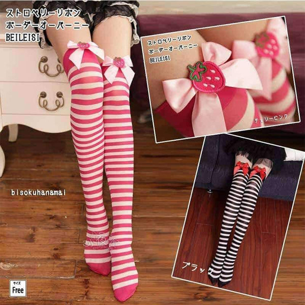 leggycozy [leggycozy] Japanese College Style Cotton Striped Long Knee Socks with Cute Strawberry Bow Tie