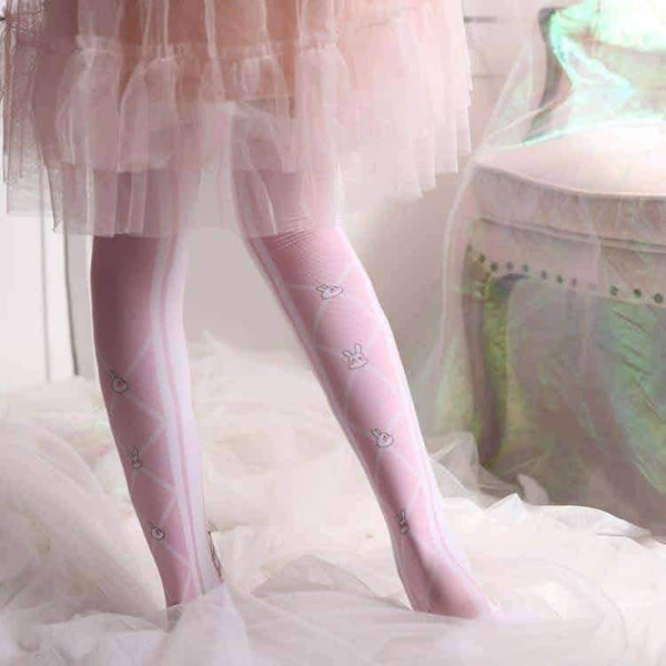 leggycozy [leggycozy] Japanese Style Sweet Pink Rabbit Pattern Silk Stockings