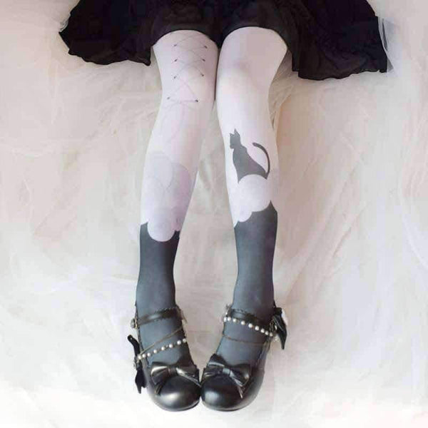 leggycozy [leggycozy] Japanese Sweet Cat Print Pantyhose Stockings