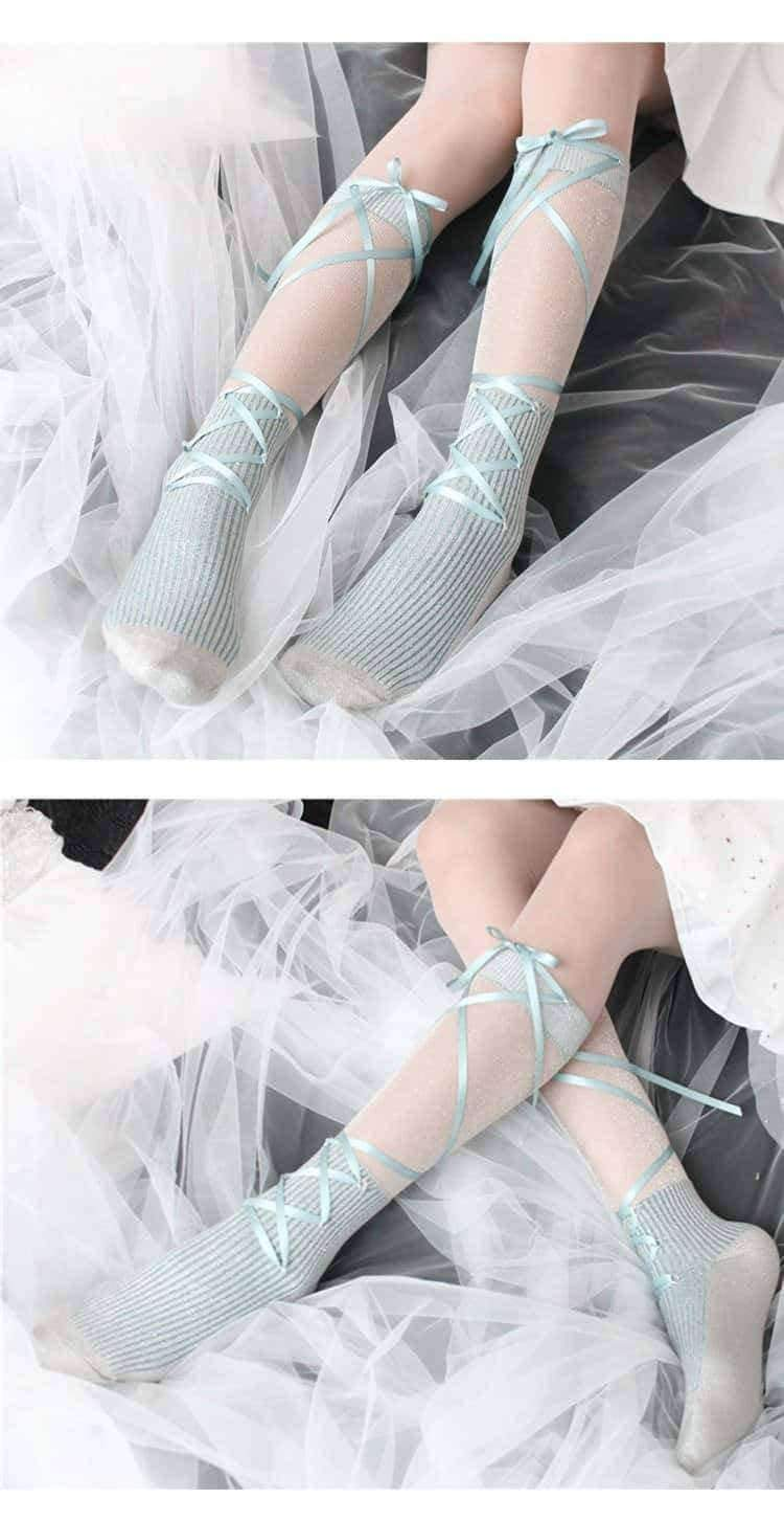 [leggycozy] Japanese Sweet Soft Bow Tie socks
