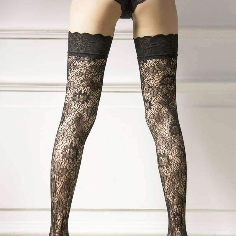 [leggycozy] Lace Floral Fishnet Stocking