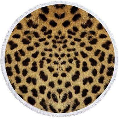 leggycozy [leggycozy] Leopard Tiger Pattern Printed Round Beach Towel With Tassels