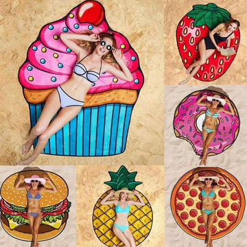 [leggycozy] Pineapple Doughnut Pizza Chiffon Tapestry Round Beach Towel