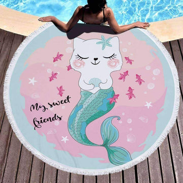 [leggycozy] Pink Large Microfiber Mermaid Princess Round Beach Towel