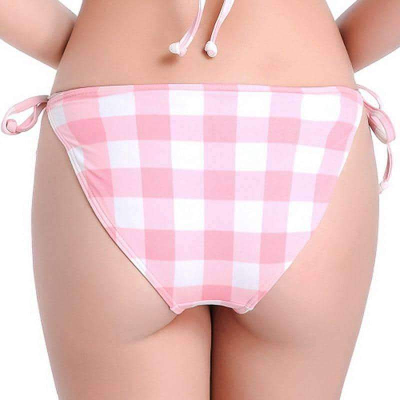 [leggycozy] Pink Plaid Bikini Bottom For Women