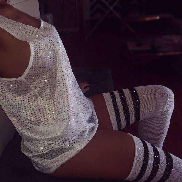 leggycozy [leggycozy] Rhinestones Glitter Bling Thigh High Hipster Over Knee Stocking