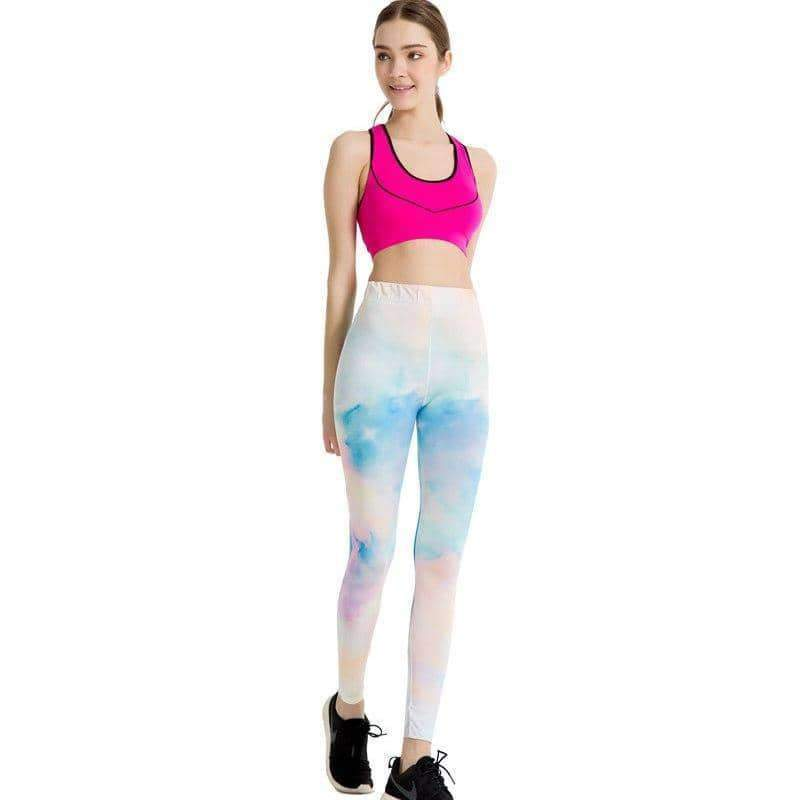 [leggycozy] Sexy Women Leggings Workout Pink And White Splicing