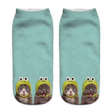 [leggycozy] Space Cat Pattern Unisex Low Cut Ankle Socks