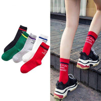 leggycozy [leggycozy] Striped & Letter Casual Long Cotton Socks