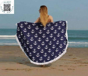 [leggycozy] Sunbathe Round Beach Towel With Tassel