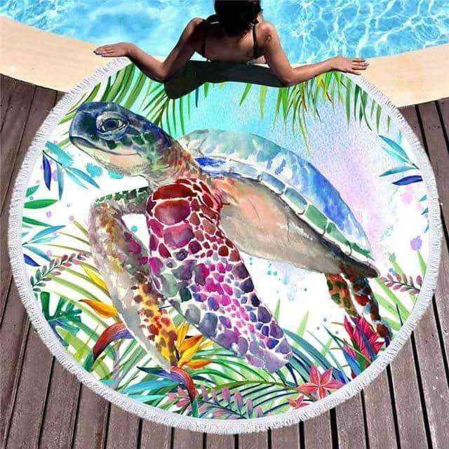 [leggycozy] Tropical Sea Turtle 150cm Large Round Beach Towel