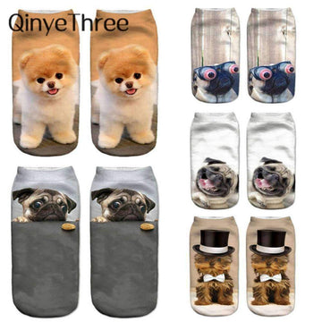 [leggycozy] Unisex Cute Puppy Low Cut Ankle Socks