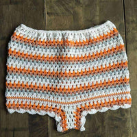 leggycozy [leggycozy] Vintage High Waist Crochet Stripe Hollow Out Bikini Bottom