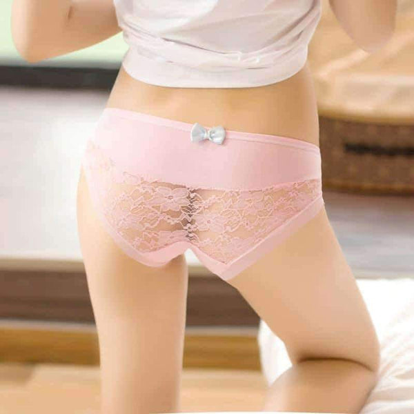 leggycozy Panties [leggycozy] (2pcs/set) Cute Bow Tie Low Waist Lace Mesh Panties