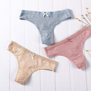 [leggycozy] (3 piece/lot) Solid Color G-String Thongs Cotton Panties