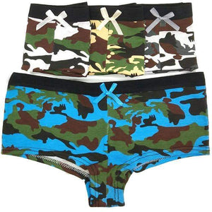 Open image in slideshow, [leggycozy] (4Pcs/Lot) Sexy Camouflage Pattern Cotton Boyshorts Panties