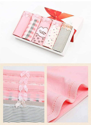 [leggycozy] (5 Pcs/Set) Cute Comfortable Cotton Bow-Knot Panties