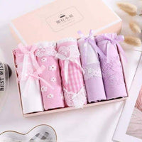 leggycozy Panties [leggycozy] (6pcs/lot) Kawaii Plus Size Mid Rise Panties with Bow Knot