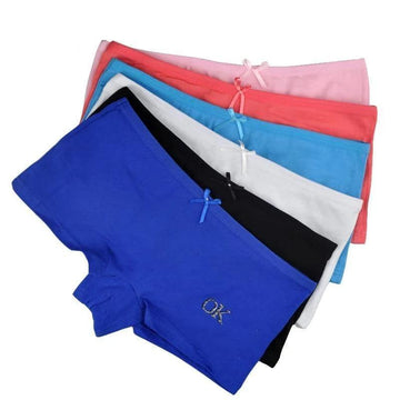 [leggycozy] (6pcs/Lot) OK Letter Print Bow Knot Cotton Boyshorts Panties