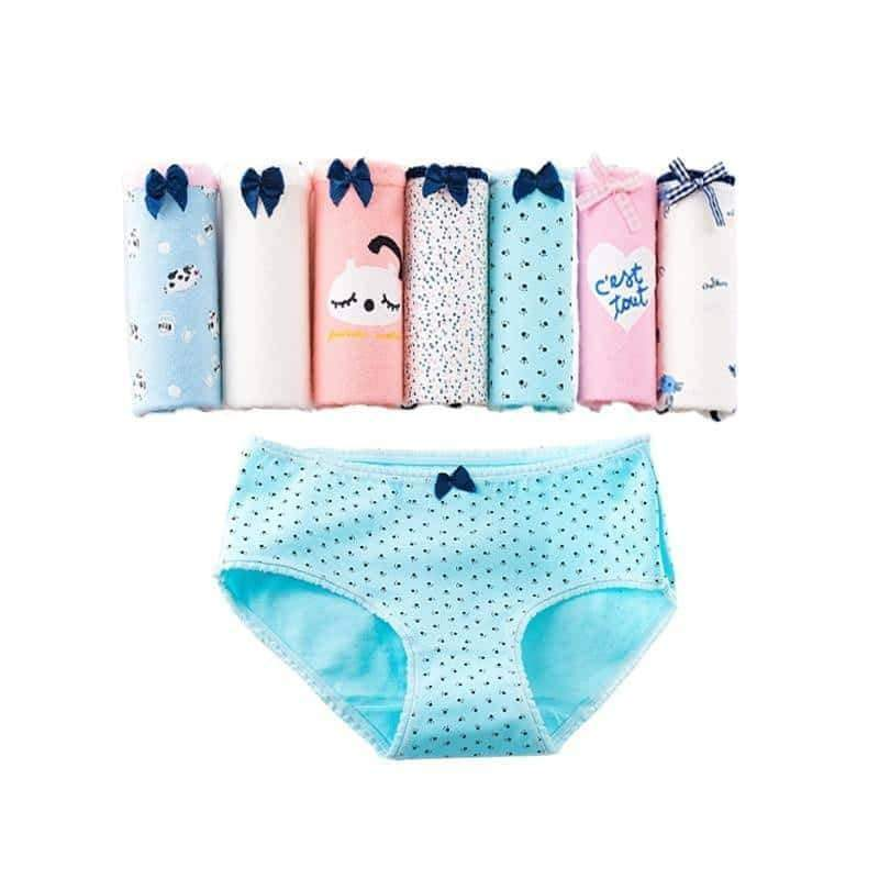 [leggycozy] (7 Pcs/Set) Cute Cartoon Printed Cotton Panties