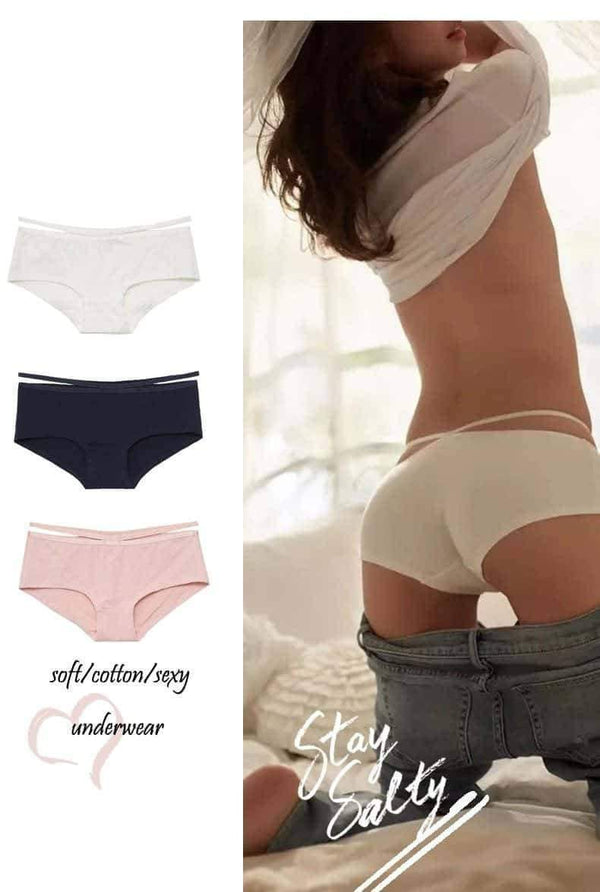 leggycozy Panties [leggycozy] Classic Cotton Seamless Breathable Strap Design Panties