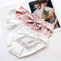 leggycozy Panties [leggycozy] Elegant Big Bow Knot Cotton Hollow Out Lace Low Waist Seamless Panties
