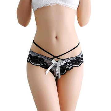 [leggycozy] Elegant Floral Pattern Lace G-String Thongs Panties
