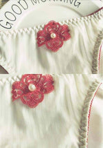 leggycozy Panties [leggycozy] Elegant Handmade Pearl Flower Embroidery Low-Rise Milk Silk Seamless Panties