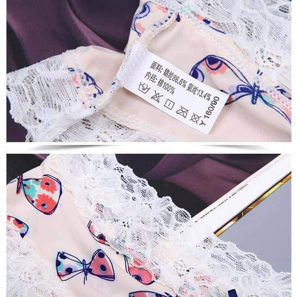 leggycozy Panties [leggycozy] Floral Lace Edge Breathable Comfortable Bow Knot Panties