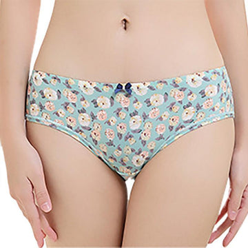 [leggycozy] Floral Pattern Bow Knot Ice Silk Low-Rise Seamless Cozy Panties