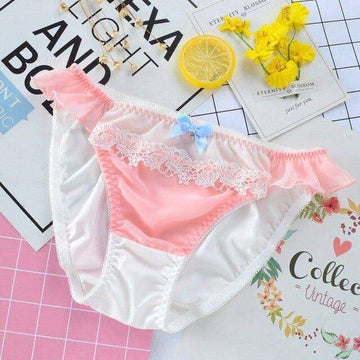 [leggycozy] Japanese College Style Laced Milk Silk Low Waist Panties -4 Colors