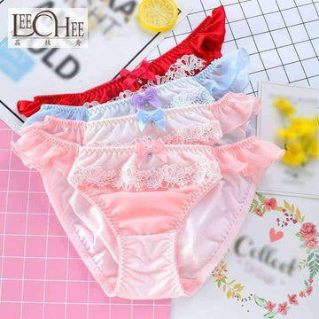[leggycozy] Japanese College Style Milk Silk Lace Low Waist Panties with Bow-Knot