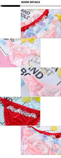 leggycozy Panties [leggycozy] Japanese College Style Milk Silk Lace Low Waist Panties with Bow-Knot