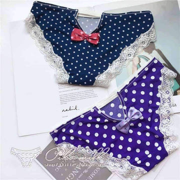 [leggycozy] Japanese Kawaii Sweet Style Dots & Stripes Panties with Cute Bow