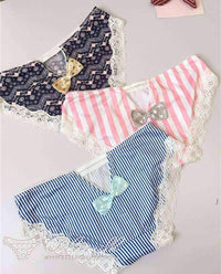 leggycozy Panties [leggycozy] Japanese Kawaii Sweet Style Dots & Stripes Panties with Cute Bow