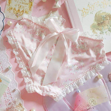 [leggycozy] Japanese Lovely Soft Milk Silk Bow Knot Lace Panties