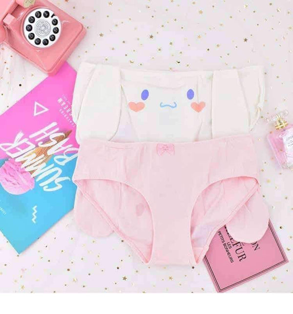leggycozy Panties [leggycozy] Japanese Pink Mid Waist Bunny Rabbit Big Ears Cotton Plus Size Panties