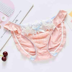 Open image in slideshow, [leggycozy] Japanese Style Sweet Cute Bow Knot Lace Ruffle Low Waist Panties