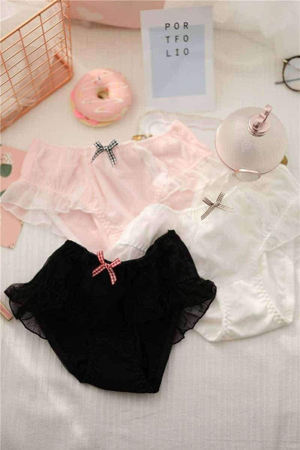 leggycozy Panties [leggycozy] Japanese Sweet Lace Yarn Style Cotton Panties with Bow-Knot