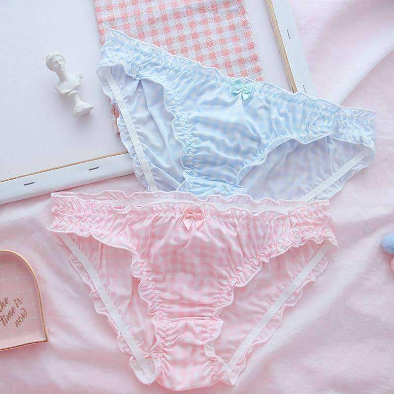 leggycozy Panties [leggycozy] Japanese Sweet Milk Silk Plaid Pattern Ruffle Bow Knot Panties -2 Colors