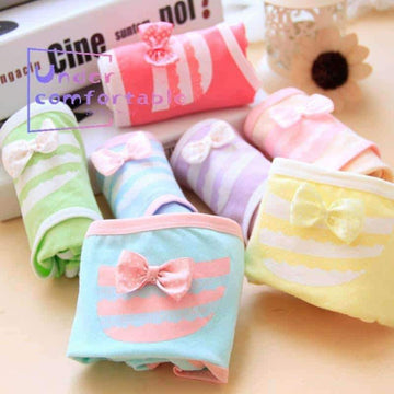 [leggycozy] Kawaii Bow Tie Candy Color 100% Cotton Comfortable Panties