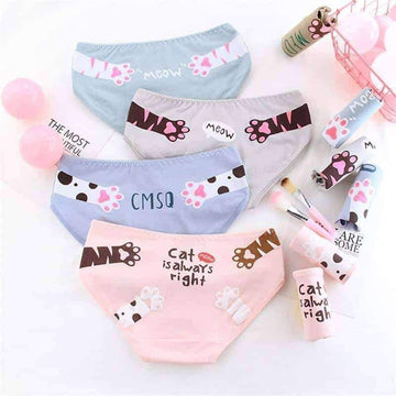 [leggycozy] Kawaii Candy Color Cat's Paw Cute Cozy Cotton Panties