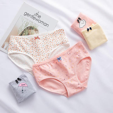 [leggycozy] Kawaii Cute Cartoon Print Bow Knot Cotton Panties