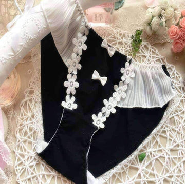 [leggycozy] Kawaii Cute Cotton Flowers Embroidery Applique Panties